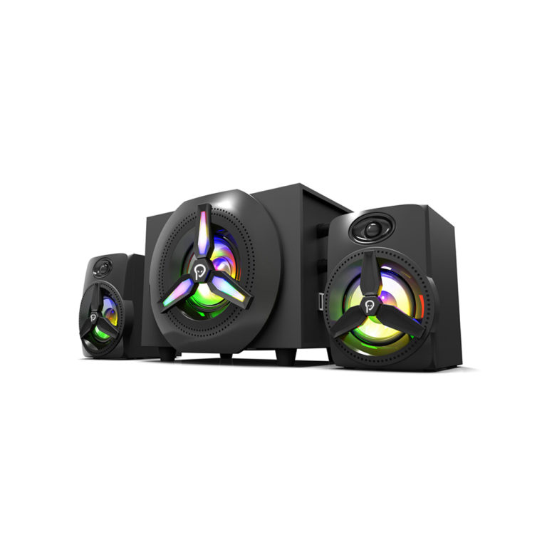 """BOXE SPACER Gaming 2.1, RMS: 16W (2 x 3W + 10W), control volum, bass, subwoofer lemn MDF, 220V alimentare, 14 x LED, black, """"SPB-HURRICANE"""" (include TV 3 lei)"""