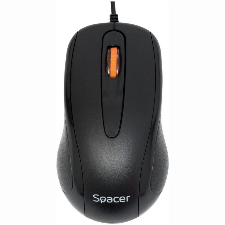 """MOUSE Spacer, PC sau NB, cu fir, USB, optic, 1000 dpi, butoane/scroll 3/1, , negru, """"SPMO-F01"""" (include TV 0.15 lei)"""