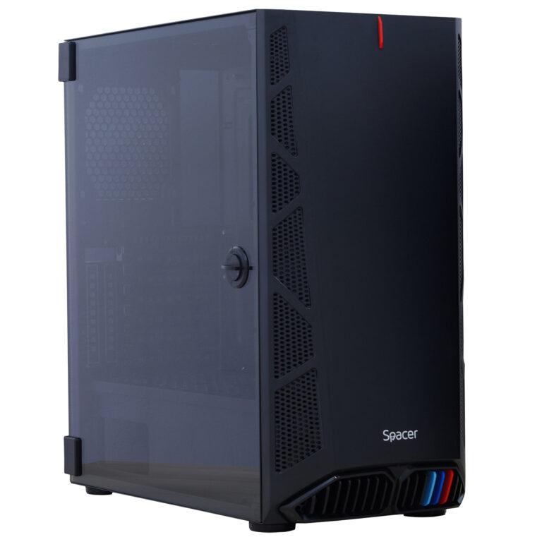 "CARCASA SPACER – gaming, Middle Tower, ATX, ""HUNTER"", fara sursa, usa sticla securizata (balama), USB 2.0 x 2, USB 3.0 x 1, Jack 3.5mm x 2, mesh , ""SPGC-HUNTER"""